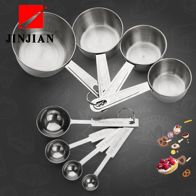 JINJIAN 4 Pcs/Set Stain Steel Measuring Cups And Measuring Spoon Scoop For Baking Graduated Metal Handle Kitchen Measuring Tool