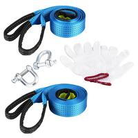 Car Trailer Tow Rope Road Recovery Towing Cable With Reflective Strip Hooks 8 Tons 5 Meters
