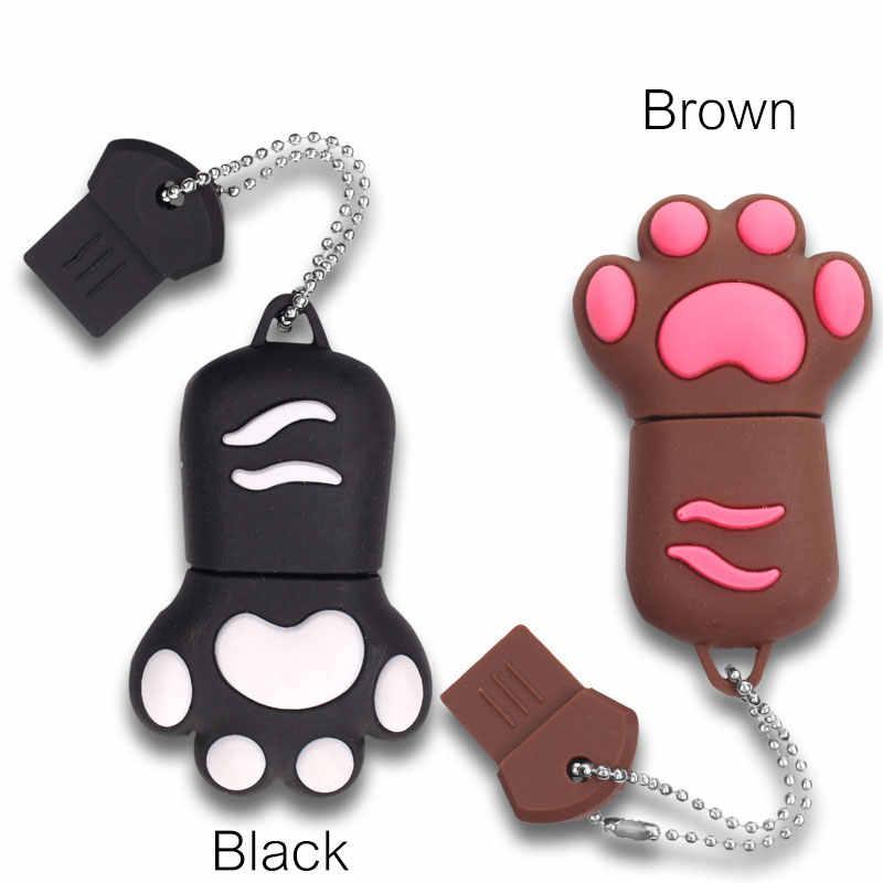 การ์ตูนหมีกรงเล็บรูปร่าง USB แฟลชไดรฟ์ไดรฟ์ปากกา 4 GB 8 GB 16 GB 32 GB 64 GB USB 2.0 แฟลช Memory Stick หมีรอยเท้า Pendrives