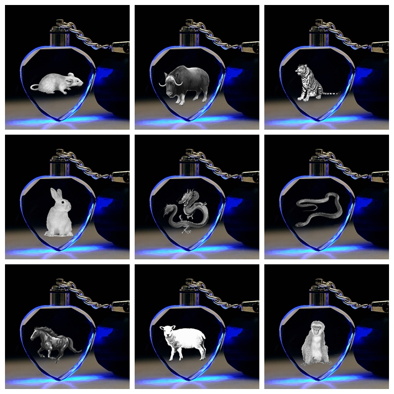 Key-Toys Crystal-Figure-Ornaments Action-Figures Gifts Cartoon-Light Animal Chain Zodiac