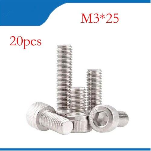 Free shipping 20PCS m3 screws M3*25 bolts m3 screws M3 nails DIN912 Fine thread stainless steel hex hexagon socket cap head 100pc din912 m3 x 20 white plastic nylon screw hexagon hex socket head cap screws