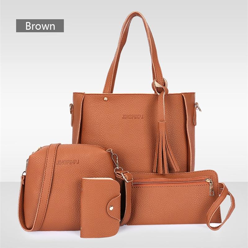 4PCS Handbag Set Women PU Leather Shoulder Bag