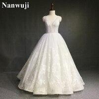 New Wedding Dress 2017 Luxury Lace Wedding Dresses V Back Floor Length Heavy Beading China Bridal