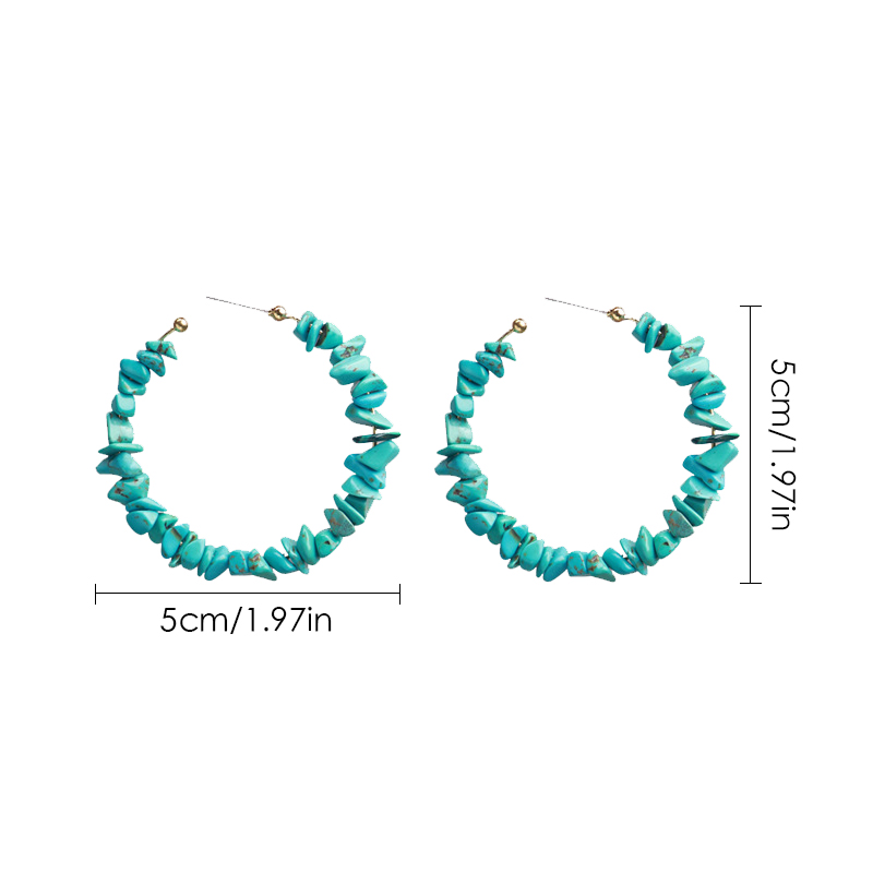 HTB1 irDOkvoK1RjSZFwq6AiCFXap - new arrive 3 color handmade hoop earrings C shape stone red green pink holiday ethnic fashion jewelry for women 2019