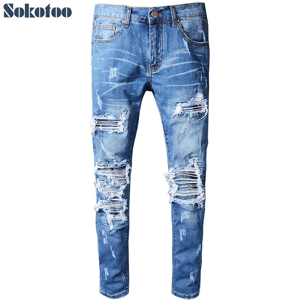 Sokotoo Men's blue pleated patchwork hole ripped biker jeans for motorcycle Casual slim skinny distressed stretch denim pants
