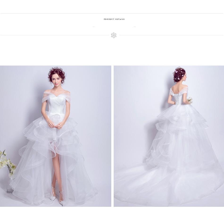 Angel Wedding Dress Marriage Evening Bride Party Prom Bridal Gown Vestido De Noiva 2017 Boat Neck asymmetrical7207 16
