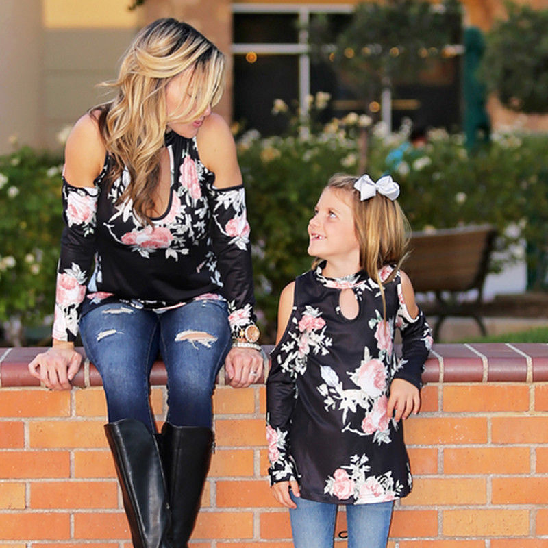 Family Matching Outfits Girls Off-Shoulder Casual Fashion Floral Long-Tops Women