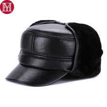 New Winter Men Real Genuine Leather Bomber Caps Warm Thick Male Real Sheepskin Leather Cap Hot