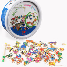 48PCS Children's Wooden Magnetic Fishing Parent-child Interactive Toys Game Kids 2 Rod 46 Fish Baby Toys Outdoor Toy Kids Game недорого