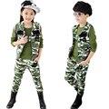 Дети камуфляжную форму 3 шт. 2016 мальчики мода армейское обмундирование спортивные комплект детей жилет + + брюки AA1371