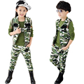 Children Camouflage Clothing 3 Pcs 2016 Boys Girls Fashion Army Uniform Sports Set Kids Tracksuit Waistcoat+T-shirt+Pants AA1371