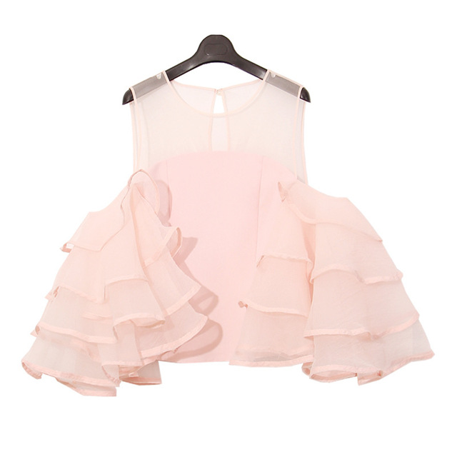 8955561cb6b chiffon blouse women ruffle organza flare sleeve tops sexy off the shoulder  tops summer 2017 new pink white black color