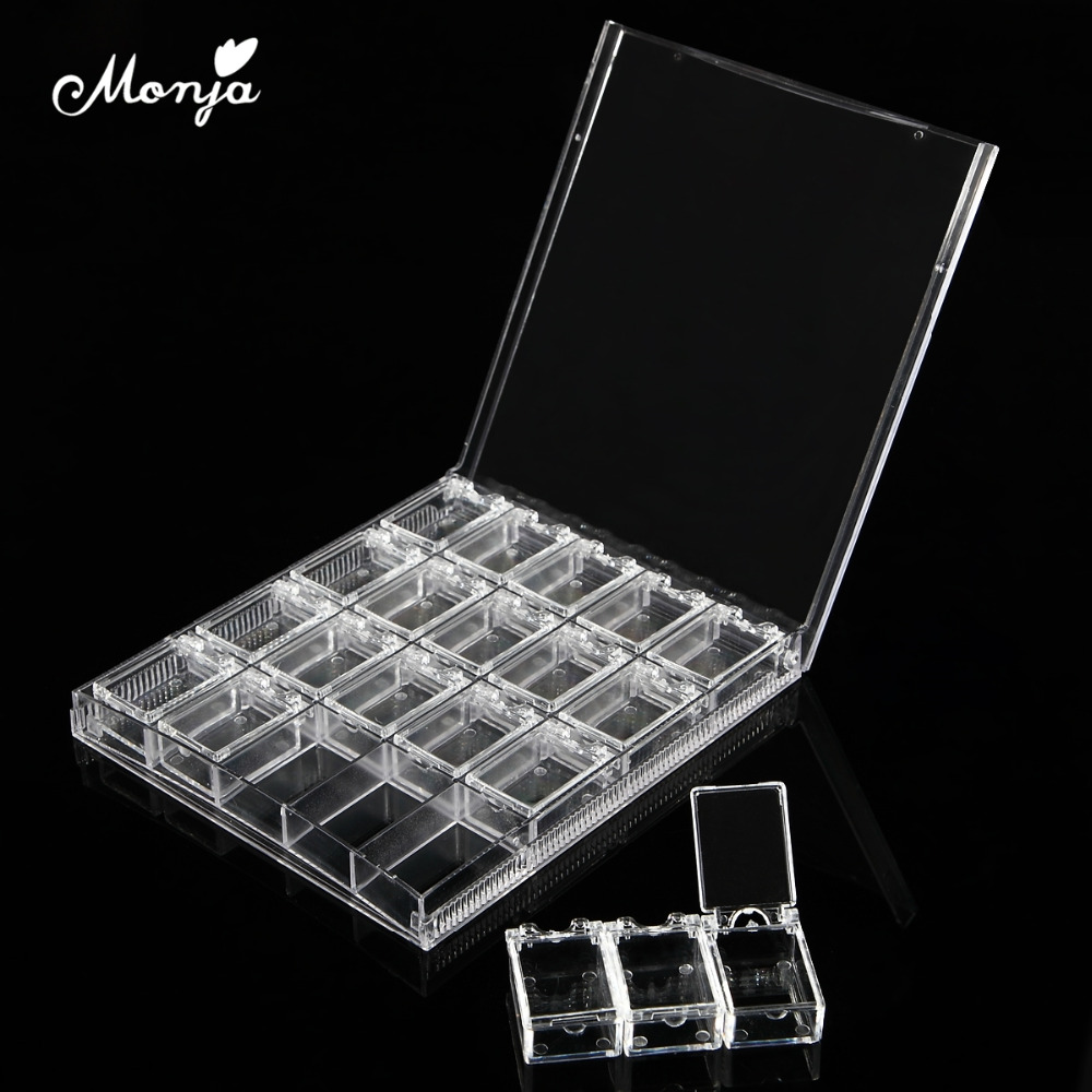 Monja 20 Grid Nail Art Rhinestone Beads Gems Jewelry Accessories Plastic Empty Devided Container Organizer Box Storage Case 25pcs empty metal bobbins spool case with 25 grid storage case box for sewing machine reels home accessories