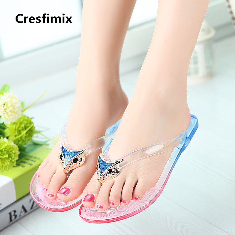 Cresfimix mujeres flip flops women fashion multi color transparent flip flops lady cute spring & summer beach flip flop a359