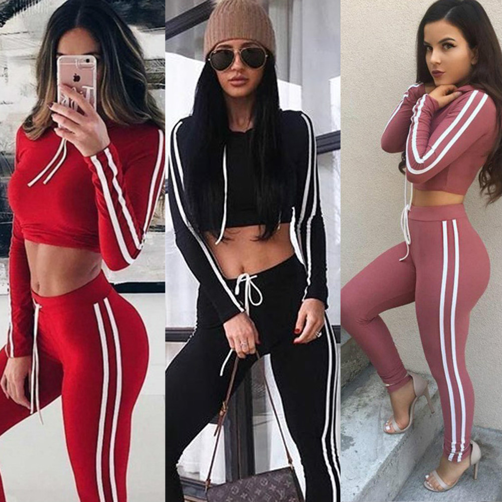 2018 Women Tracksuit Two Piece Sets Pullovers Cropped Top Hoodies Sweatshirt And Pants Trousers Female Sportswear