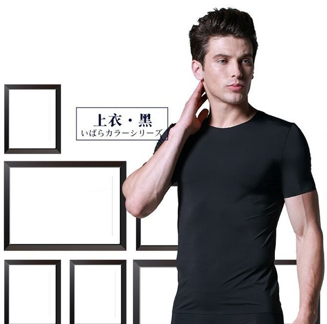 New Hot Men's Clothing Simple ice silk seamless short-sleeve o-neck Undershirts Male slim comfortable breathable ultra-thin Tops