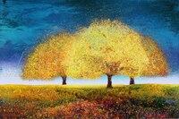 Ручная роспись Tree картины Современный пейзаж Книги по искусству сновидения Дерево Красный маслом на холсте Домашний Декор Высокое качеств