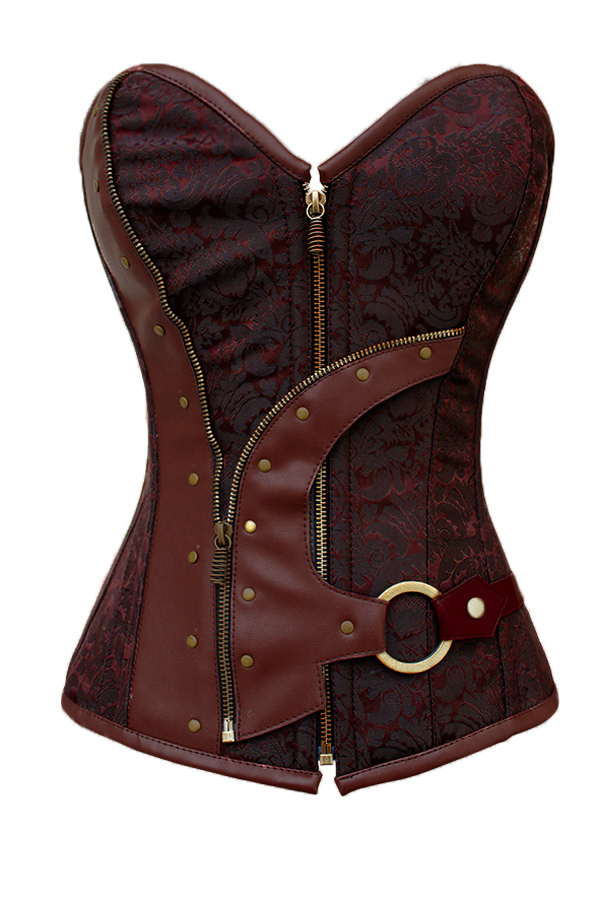 bustiers   &   corsets   corselet Women 2019 Brown Brocade Steampunk   Corset   Top With G-string plus size XXL sexy lingerie set