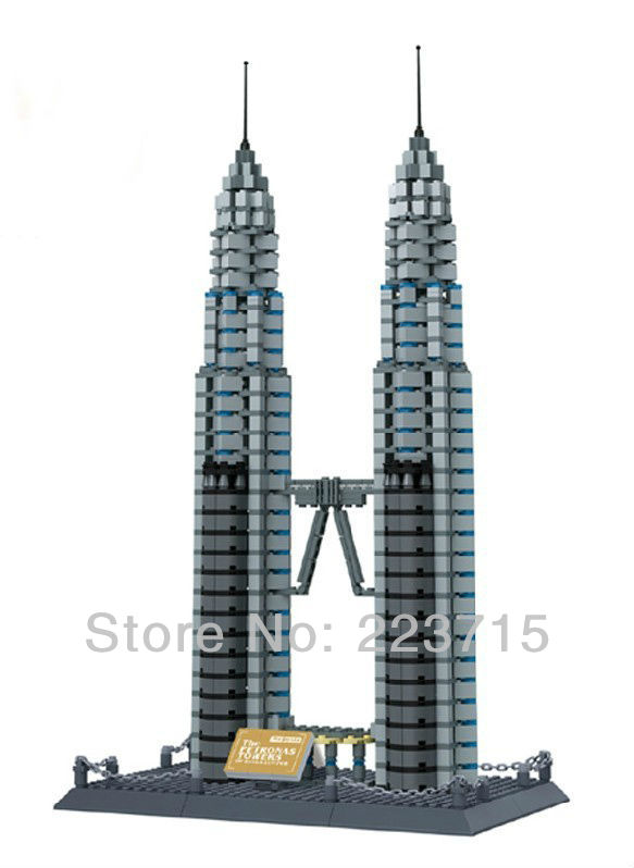 Free Shipping!*The Petronas Towers* DIY enlighten block bricks,Compatible With other Assembles Particles free shipping happy farm set 1 diy enlighten block bricks compatible with other assembles particles