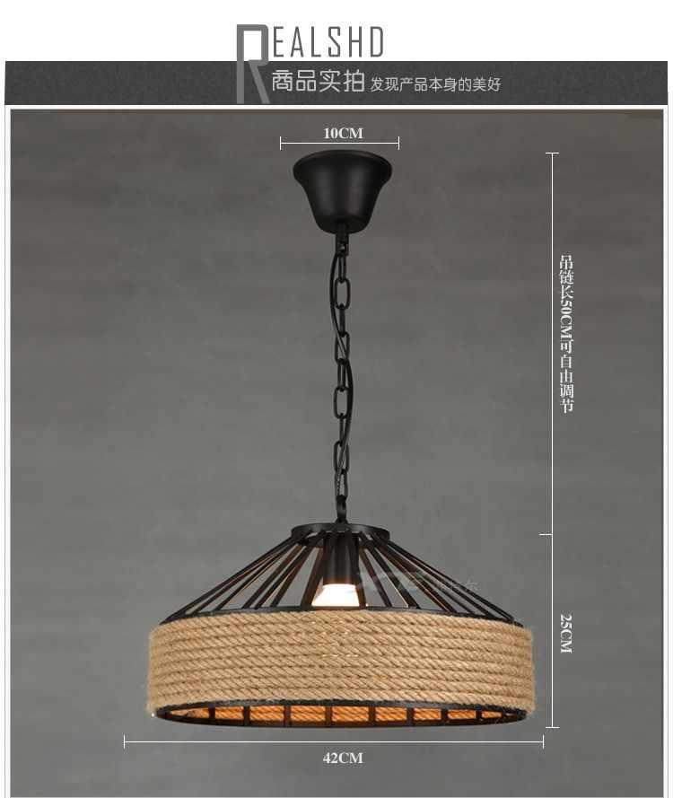 Лофт стиль железо и конопляная веревка светодиодный Droplight промышленный винтажный подвесной светильник для столовой подвесная осветительная арматура для внутреннего освещения