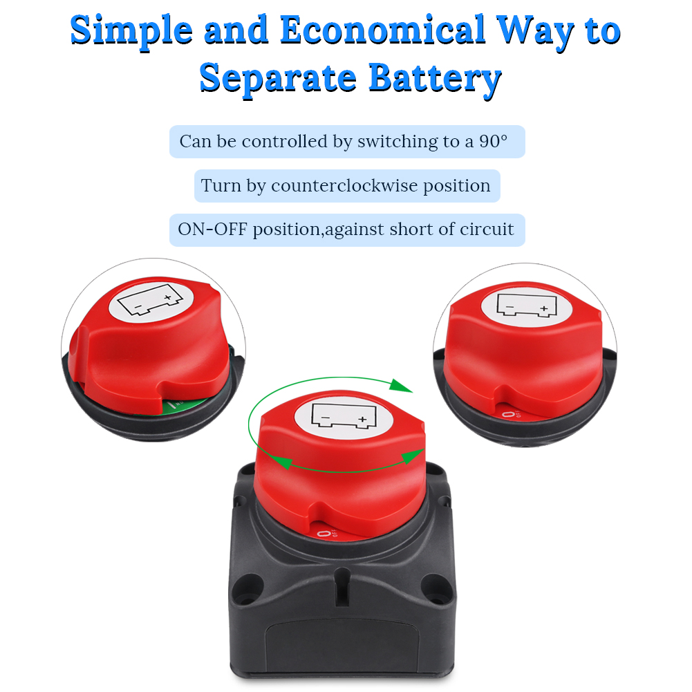 Car RV Trailer Master Battery Disconnect On//Off Safety Kill Switch SPST 190A 24V