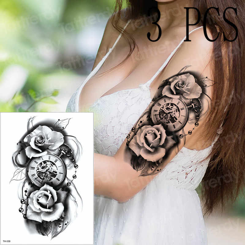 f9cf9609a tattoo compass tattoos mechanical gothic tattoo sleeves arm tatoo for men  women rose 3D pirate tatto