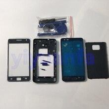 Volledige Behuizing Case Midden Frame + Back Cover + Glas Lens Vervangende Onderdelen Voor Samsung Galaxy S2 I9100