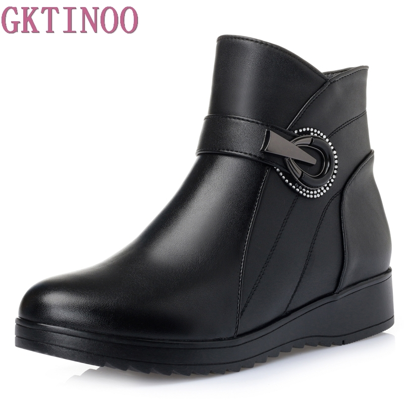 Winter Shoes Women Flats Ankle Boots Woman Fashion Leather Wedges Boots Mother Casual Non-slip Warm Snow Boots platform women boots 2016 fashion casual shoes woman ankle boots slip on flats autumn spring wedges women shoes xwc831