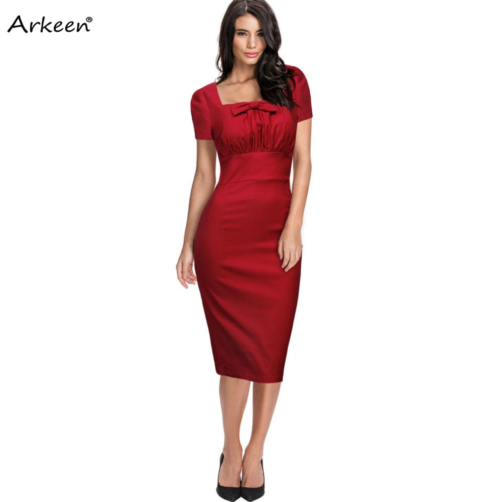 Vintage Fashion Bow knot Square Pleated Dress Women 2017 Autumn Midi ...