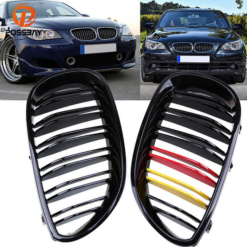 Possbay Mobil Gloss Hitam Merah Kuning Ginjal Depan Pusat Kisi-kisi untuk BMW 5-Series E60 520i/523i/ 525d/528i Sedan 2003-2010