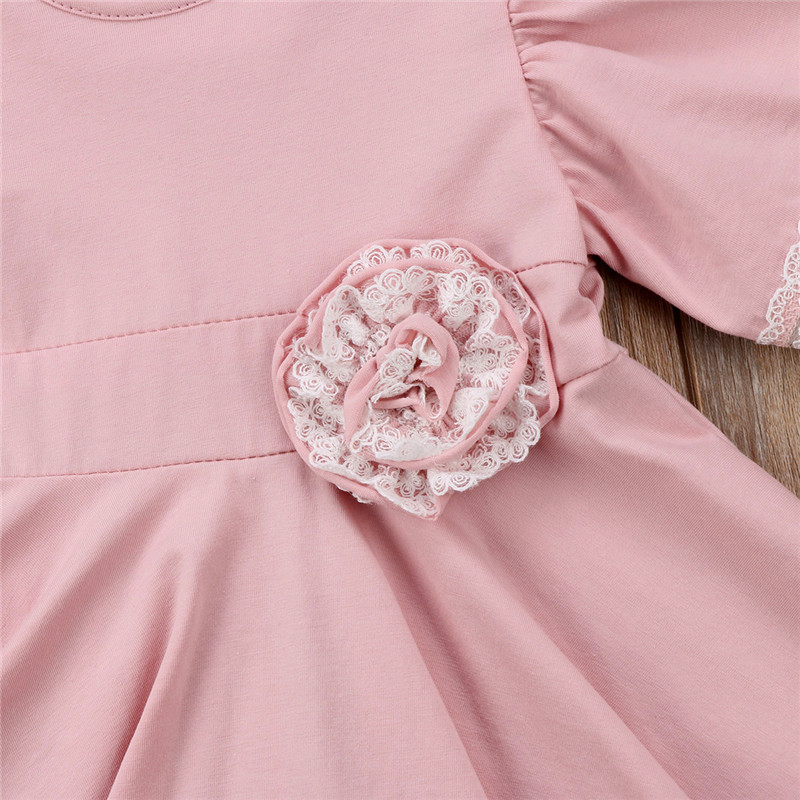 O-Neck Solid Lace Childrens Clothing Dress Flower Girls Dress Princess Summer Kids Dresses For Baby Girls Clothes 1 2 3 4 5 Yrs 4