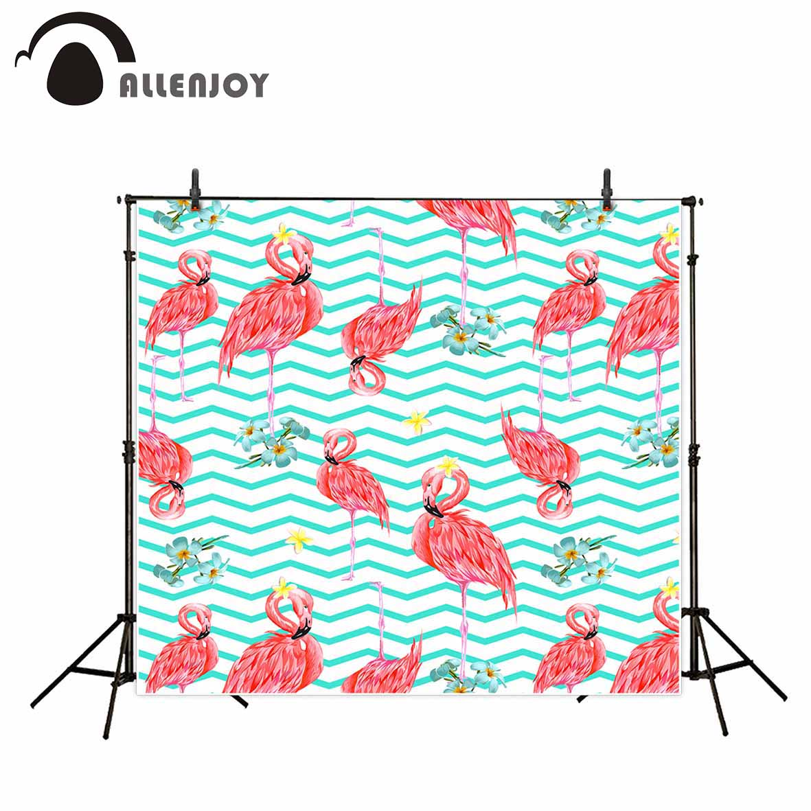 Allenjoy pink flamingo flowers green stripes chevron photography backdrops cartoon children birthday custom photo background allenjoy photography backdrops pink curtains stripes birthday background customize photo booth for a photo shoot vinyl backdrops