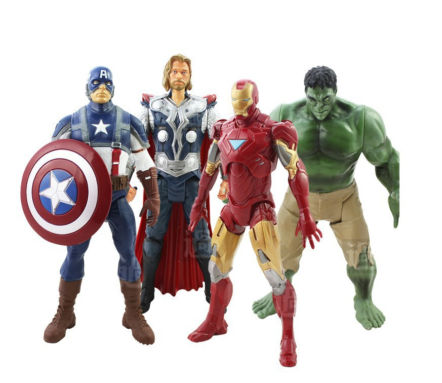 NEW 4pcs/set Movable The Avengers 2 Action Figures Captain America Thor Hulk Iron Man 20cm Figures Toy Gifts IronMan Superhero uncanny avengers volume 4