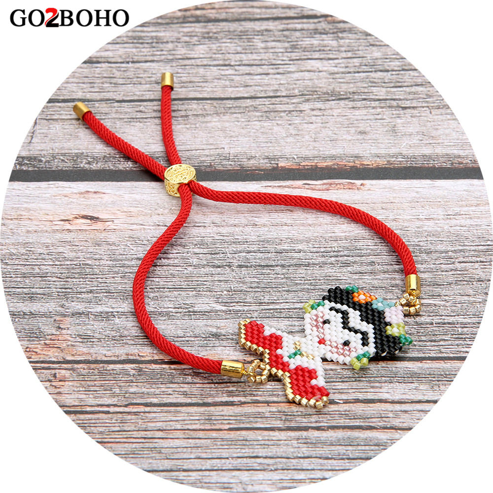 лучшая цена Go2boho Dropshipping Frida Kahlo Bracelet MIYUKI Bracelets Seed Beads Frida Jewelry Red Rope Cord Loom Woven Women Her Gifts