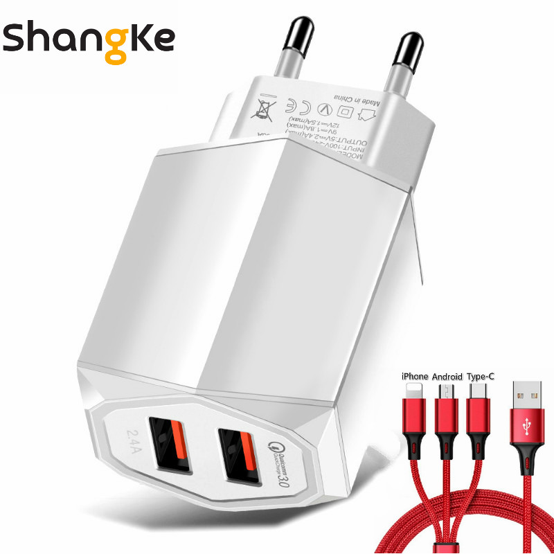 Travel Charger Quick Charge3.0 Fast Charger Portable Wall USB Power Adapter Charging For Iphone Samsung Xiomi With 3-in-1 cable