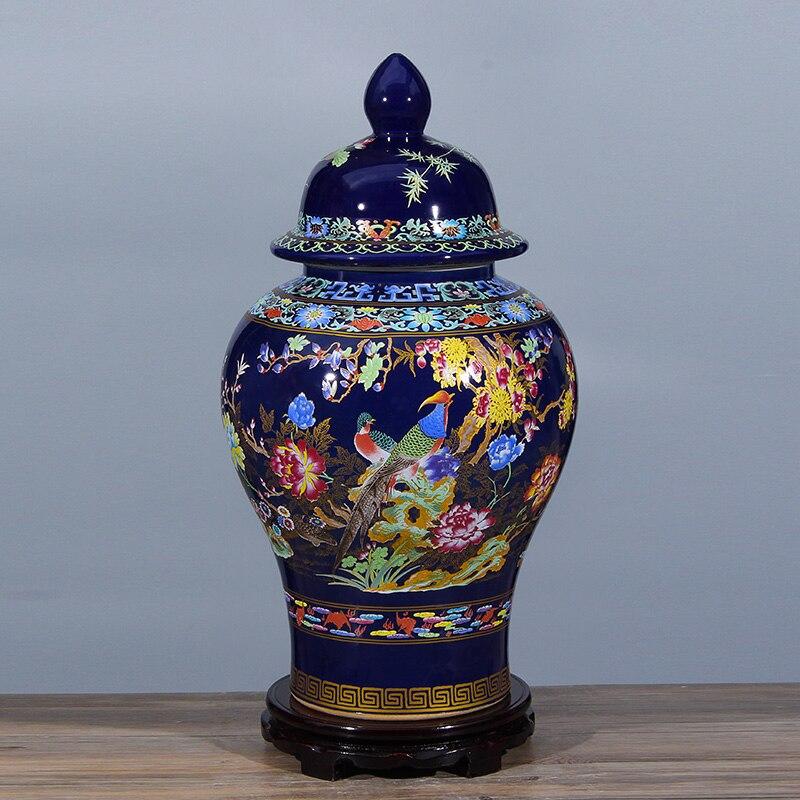 Ретро Цзиндэчжэнь керамические пастельных вообще бак Имбирь jar цветок и птица герметичного хранения угги snack jar украшения дома