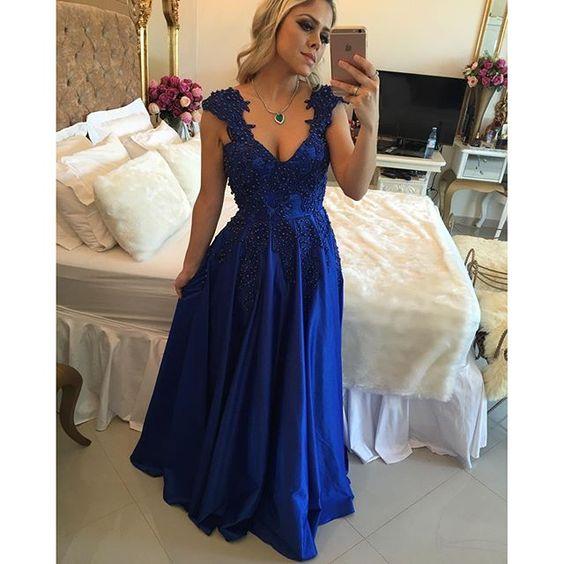 dee03ea3139 Alta Calidad vestidos de noche largos elegantes Con Cuello En V Azul Real Vestido  de Noche Apliques Largos Vestidos De Fiesta de 2017 en Vestidos de noche ...