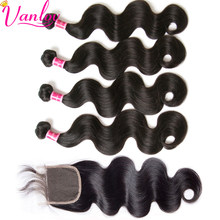 Vanlov Peruvian Body Wave 4 Bundles With Closure 5 Pcs Human Hair Bundles With Closure 4X4 Lace Non-Remy Natural /Jet Black Hair(China)