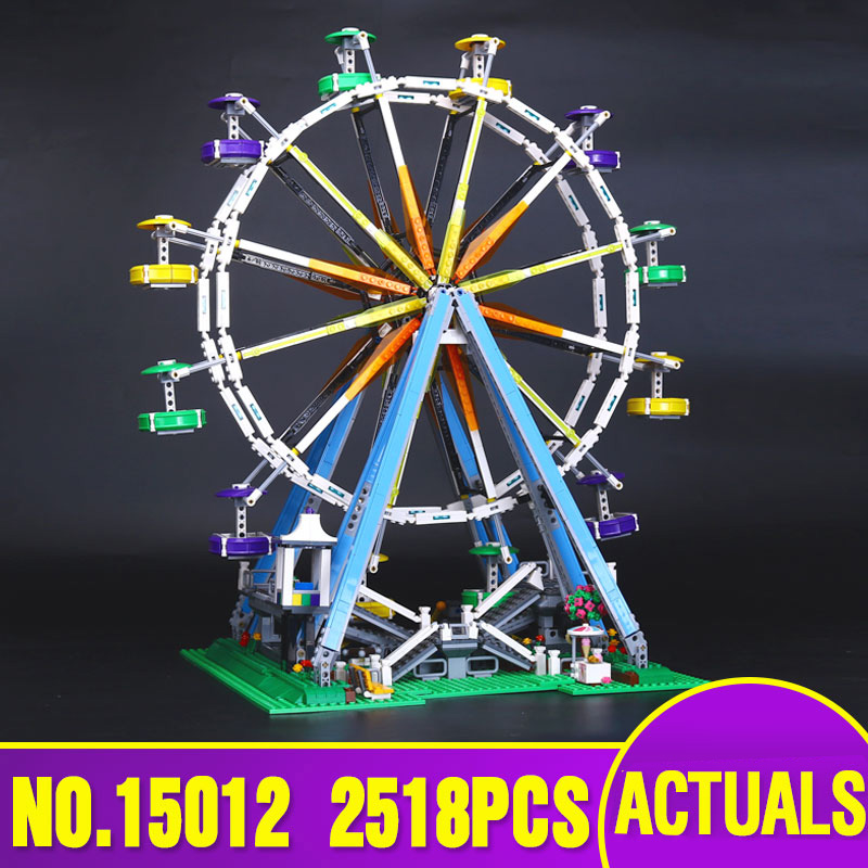 LEPIN 15012 series the Ferris Wheel model Educational building blocks set Classic compatble 10196 Architecture Toys for children dhl lepin 15012 2518 pcs city expert ferris wheel model building kits blocks bricks toys compatible with legoingly 10247