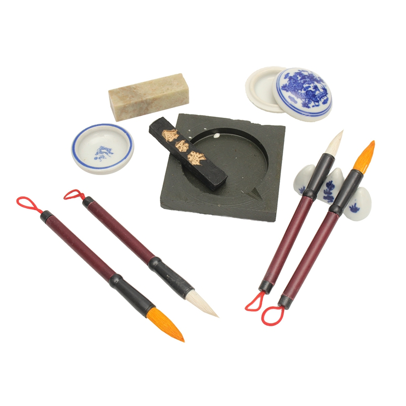 Useful Chinese Calligraphy Set Writing Pen Brushes Ink Inkstone Stamp Set With Box Painting Brushes Set Artist Student Gifts 5000 chinese characters word pen copybook hard pen calligraphy copybook learn writing supplies for china lovers 2017