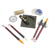 Полезные китайской каллиграфии набор перо Расчёски для волос чернил Inkstone Stamp Set с коробкой картина Расчёски для волос набор художник студенческие подарки