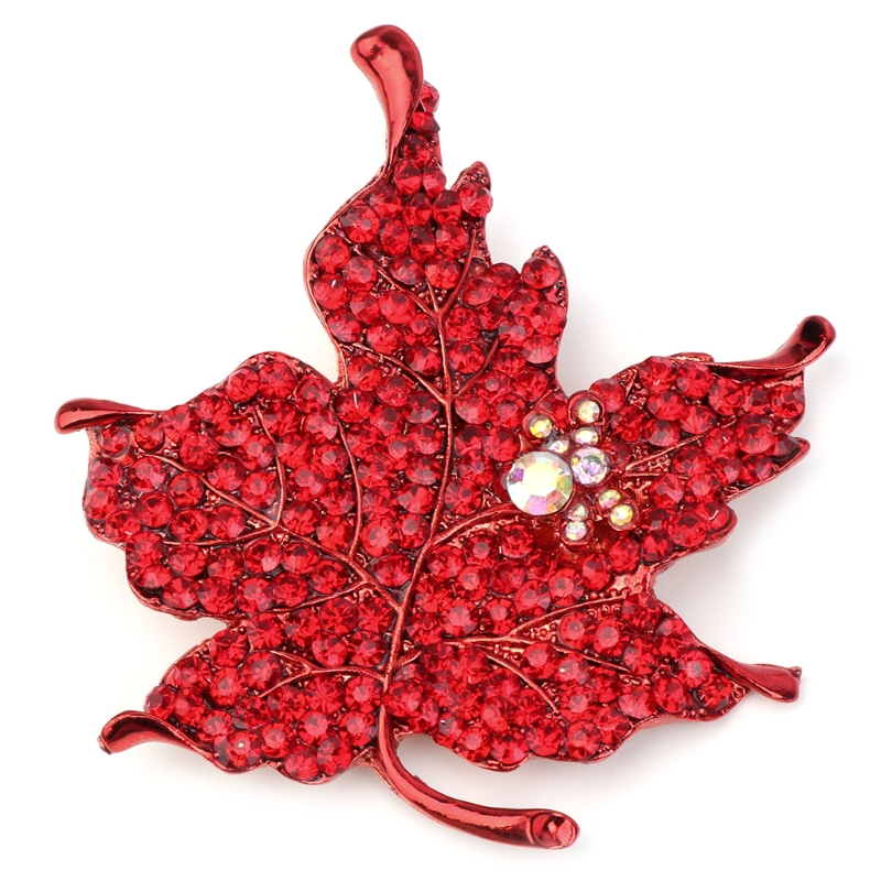 Fashion Maple Leaf Brooches Women Rhinestones Badge Pins Jewelry Christmas Gift broches rozet brosche