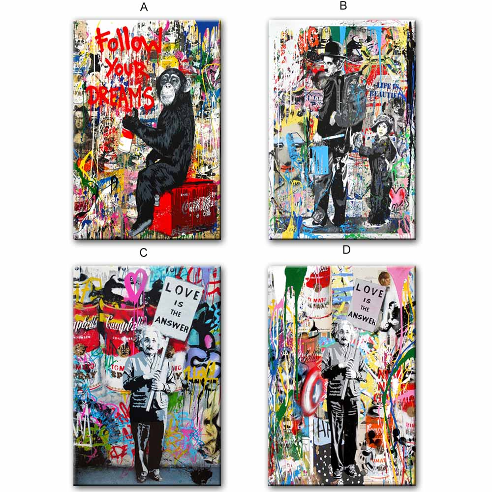 3b925a99247 Follow Your Dreams Street Wall graffiti Art Canvas Paintings Abstract  Einstein Pop Art Canvas Prints For Kids Room Cuadros Decor-in Painting    Calligraphy ...
