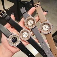 Новая Мода розовое золото дамские часы с бриллиантами Новинки для женщин наручные часы со стразами Роскошные кожаный ремешок Для женщин кв