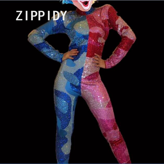 Blue Red Sparkly Crystals Jumpsuit Glisten Stones Individuality Splice Design Costume DJ Singer Outfit Nightclub Party Rompers