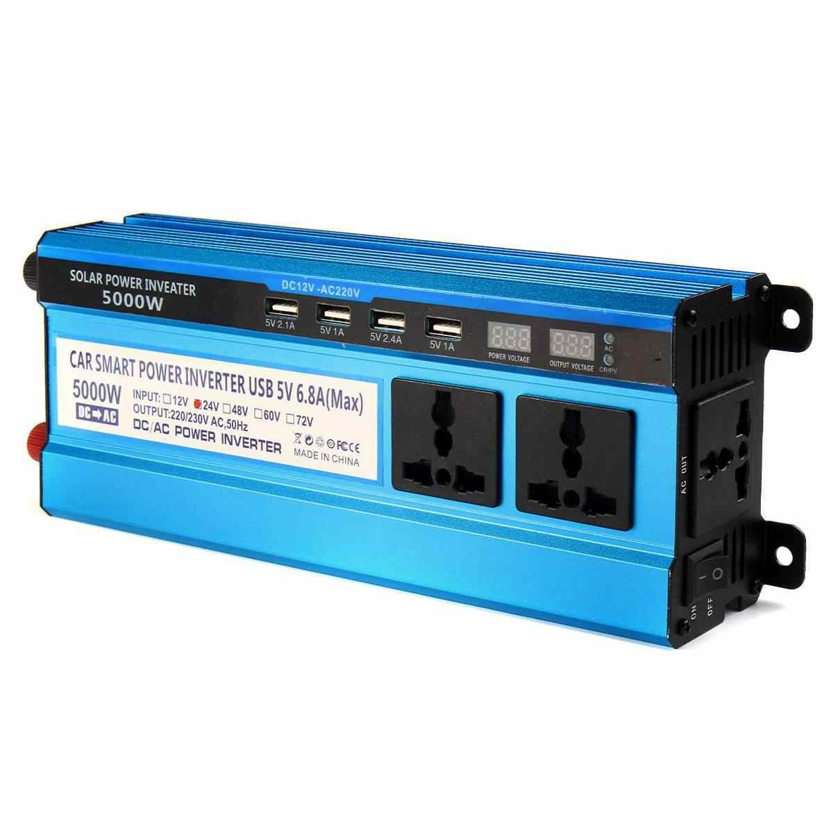 الطاقة الشمسية العاكس تيار مستمر 12 فولت 24 فولت 48 فولت إلى التيار المتناوب 220 فولت 3000 واط 4000 واط 5000 واط العاكس محول الجهد محول 4 USB LED عرض للسيارة المنزل