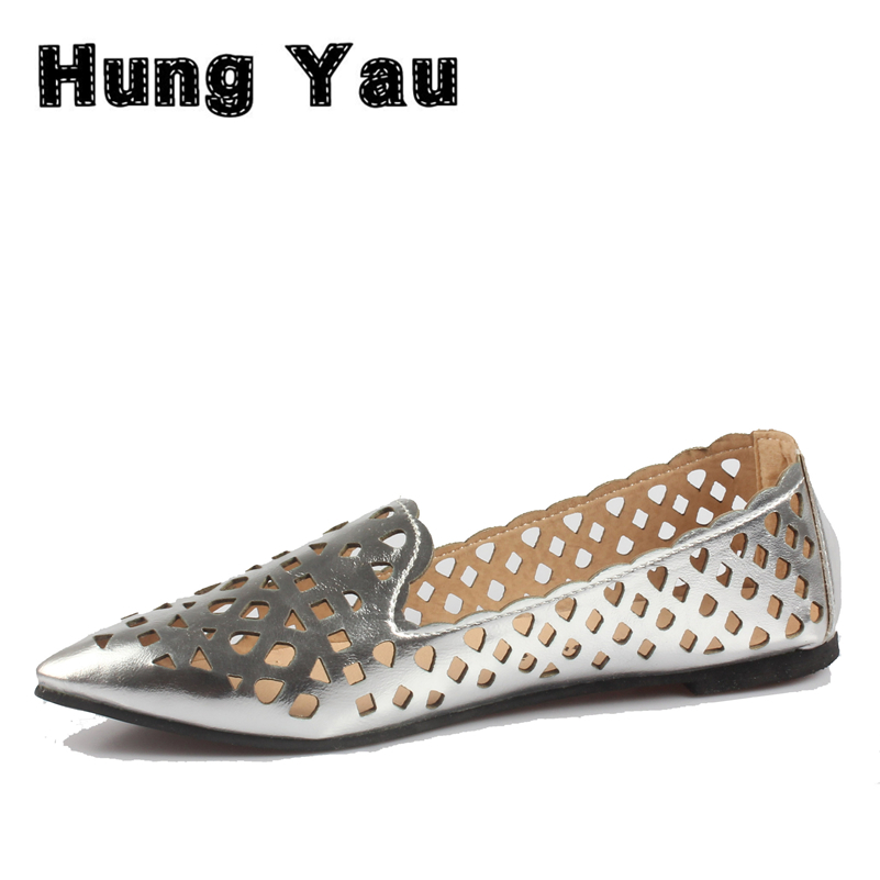 Summer style Women Ballet Flats Round Toe Slip on Shoes Cut-outs Flats Shoes White Sandals Woman Loafers zapatos mujer Size US 8 enmayla most popular portable ladies loafers casual shoes woman ballet flats shoes women slip on flats shoes big size 34 43