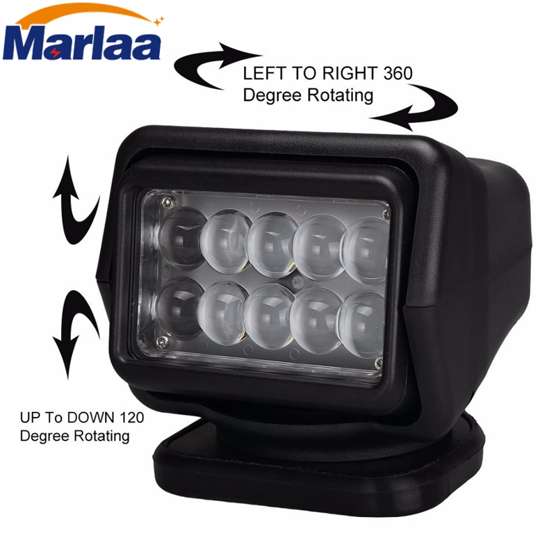 Marlaa 12v 50w 360 &120 Wireless LED Auto Search Spot Light Rotating Remote Control Work Light Spot for SUV Boat Home Security keyshare dual bulb night vision led light kit for remote control drones