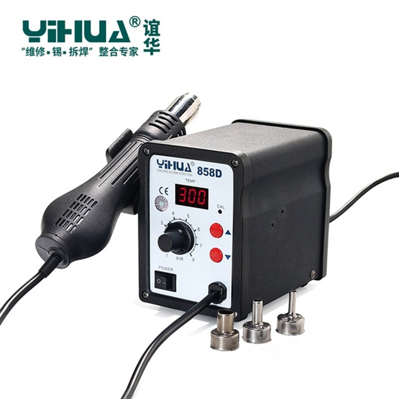 цена YIHUA 858D 220V Hot Air SMD Rework Station Heat G un SMT Solder soldering iron Welding Repair Tools в интернет-магазинах
