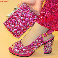 doershow New crystal Wedding/party shoes and bags to match woman Fashion High shoes women's Pumps shoe and bag set SXX1 33